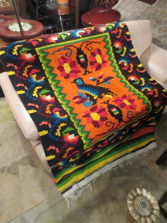 7: HANDWOVEN RUG OR BLANKET, MULTICOLORED WITH BLUE BIR