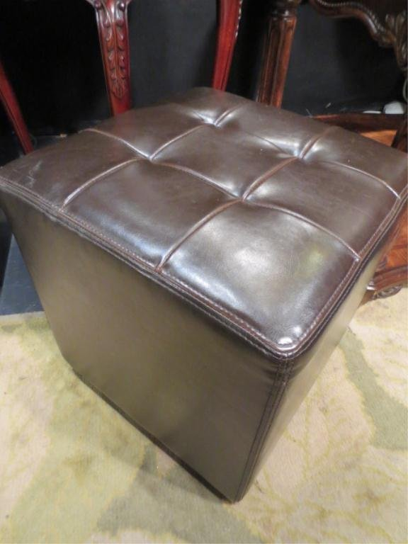 """8: SQUARE BROWN LEATHER OTTOMAN, TUFTED TOP, APPROX 25"""""""