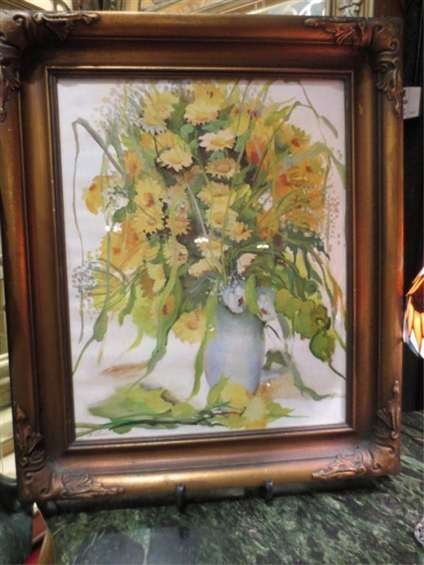 15: FLORAL WATERCOLOR ON CANVAS, SIGNED F. LOVE LOWER L