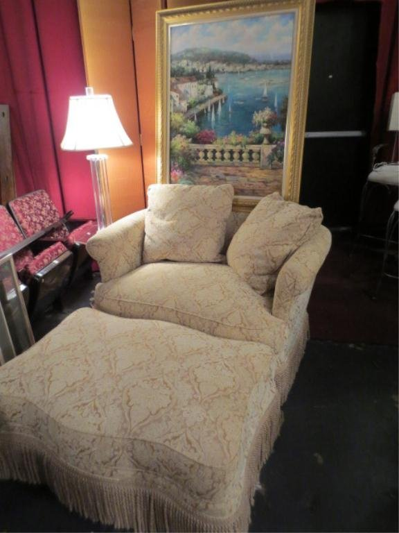 21: TAYLOR KING CHAIR AND OTTOMAN, GOLD AND WHITE UPHOL