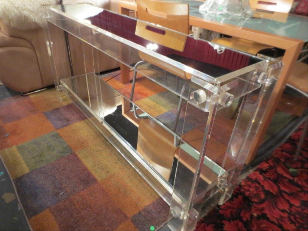 24: VINTAGE 1970's LUCITE CONSOLE TABLE, 2 TIERS WITH M