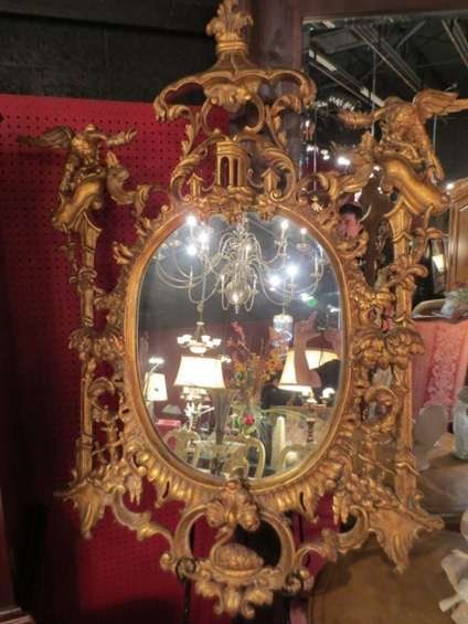 ORNATE VINTAGE CHINESE CHIPPENDALE WOOD WALL MIRROR