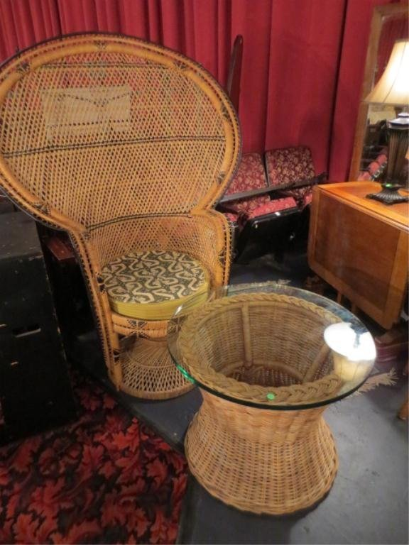 2: 2 PC SET RATTAN PEACOCK CHAIR AND TABLE, INCLUDES SE