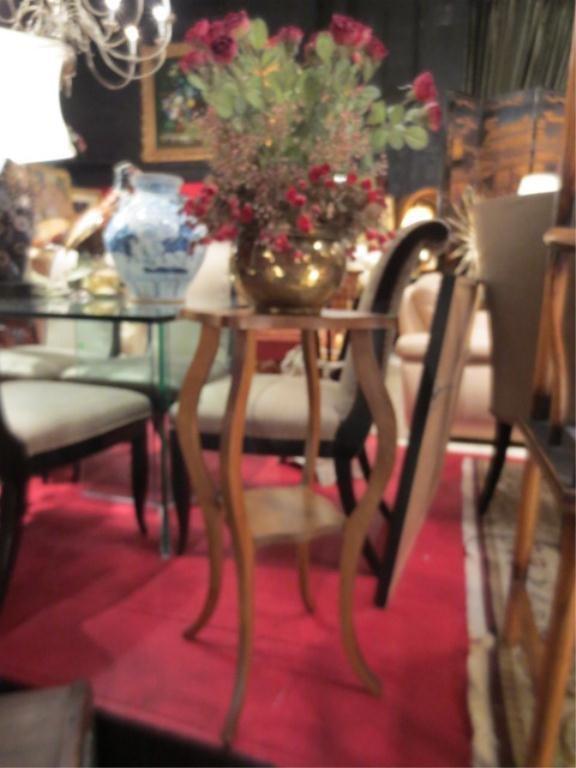 5: ANTIQUE CARVED OAK 2 TIER PEDESTAL TABLE, APPROX 3'H