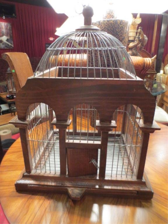 """8: SMALL ORNATE WOOD AND WIRE BIRDCAGE, APPROX 14""""L"""
