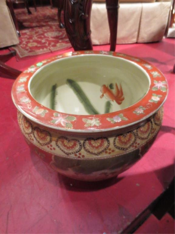 18: LARGE CHINESE CACHE POT PLANTER, RED DECORATIVE PAN
