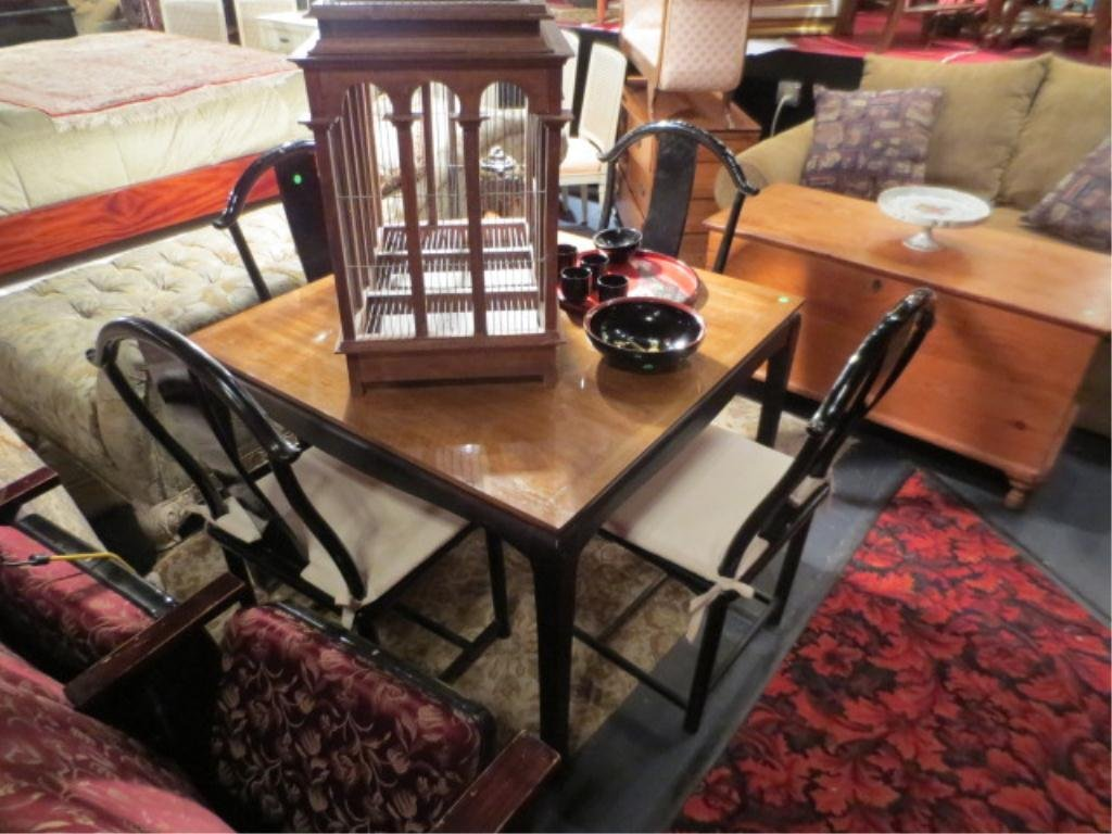19: GAME TABLE WITH 4 BLACK LACQUER CHINESE YOKEBACK ST