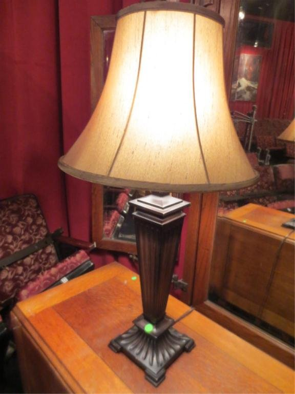 """22: FLUTED COLUMN TABLE LAMP, BROWN FINISH, APPROX 25""""H"""