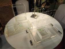 66: SIX PIECE LUCITE GROUP INCLUDES TWO TRAYS (LARGER 1