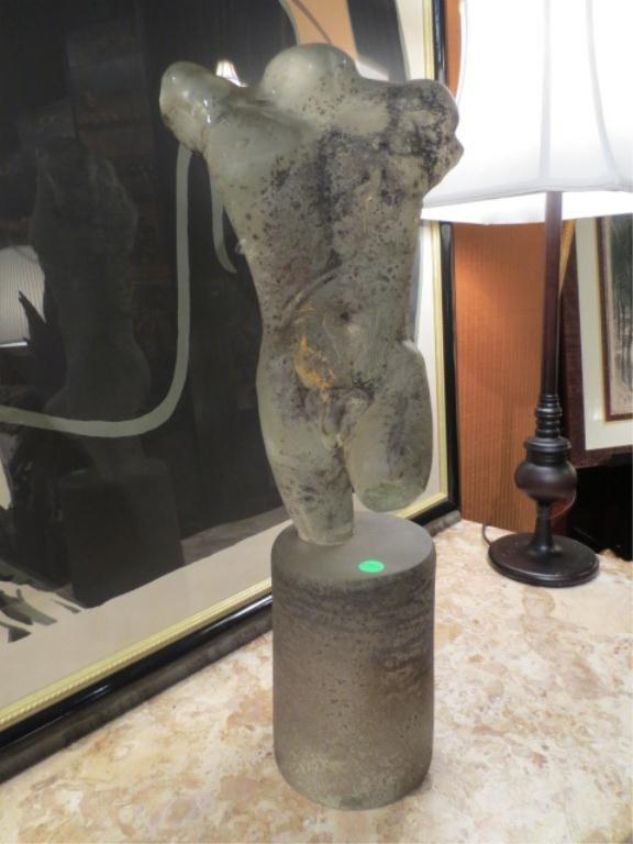 129: LARGE ART GLASS SCULPTURE, NUDE MALE TORSO, PATINA