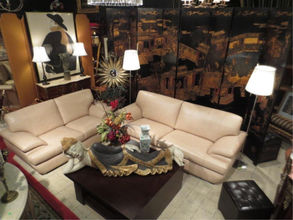 132: CONTEMPORARY LEATHER SOFA AND LOVESEAT, LIGHT TAN