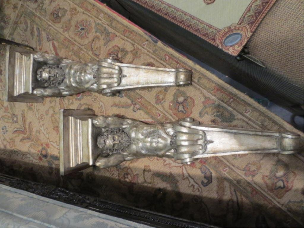 1: PAIR SILVER FINISH PLASTER WALL SCONCES, GREEK GOD H