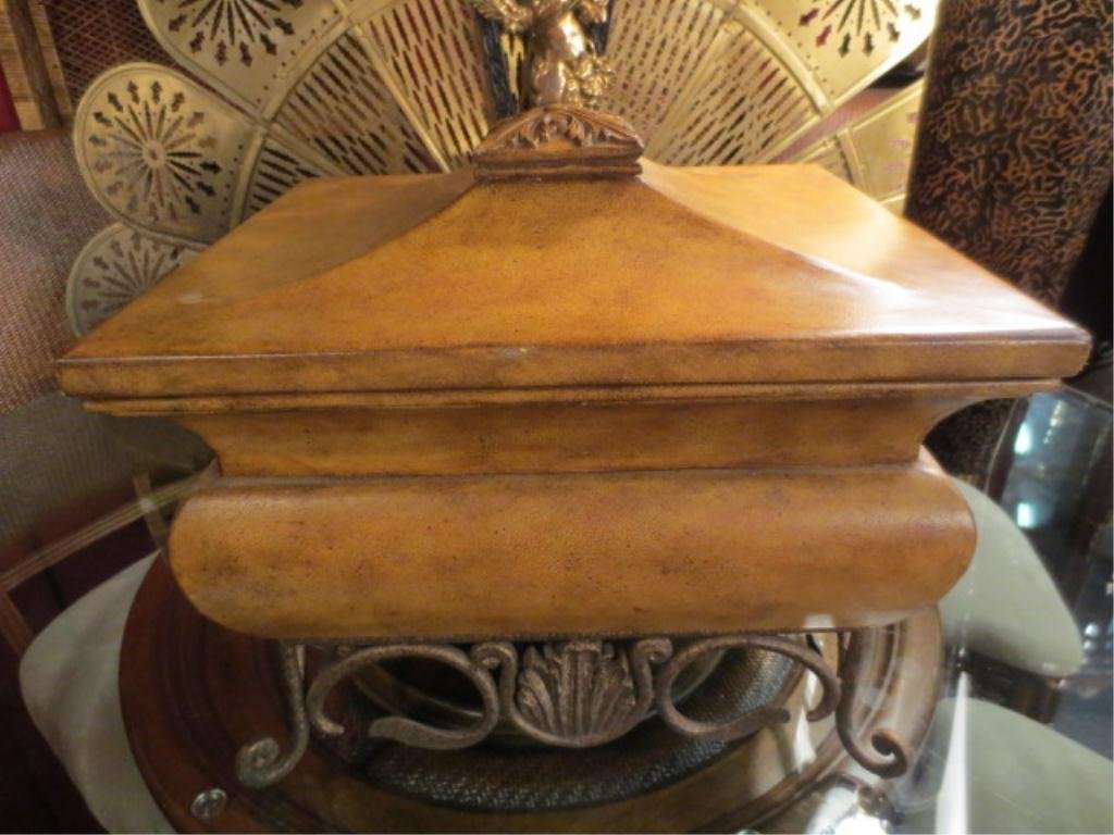 "2: CARVED WOODEN BOX, LIGHT FINISH, APPROX 18"" SQUARE"