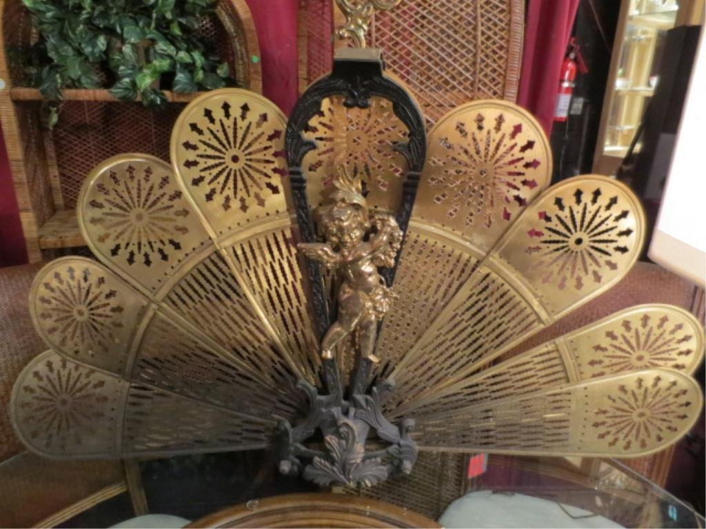 3: ORNATE BRASS FIREPLACE SCREEN, FAN SHAPED, CUPID FIG