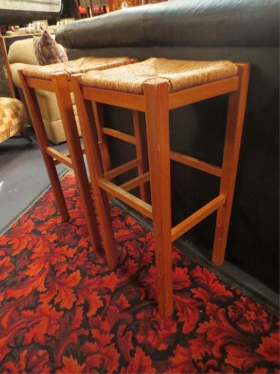 5: PAIR OF LIGHT WOOD BARSTOOLS, RUSH SEATS, COUNTER HE