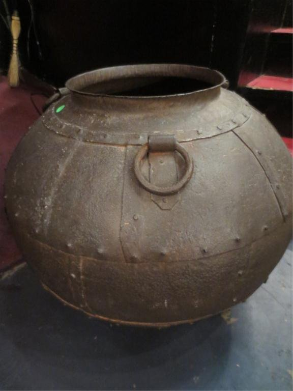 "7: LARGE METAL URN, APPROX 35"" ROUND"