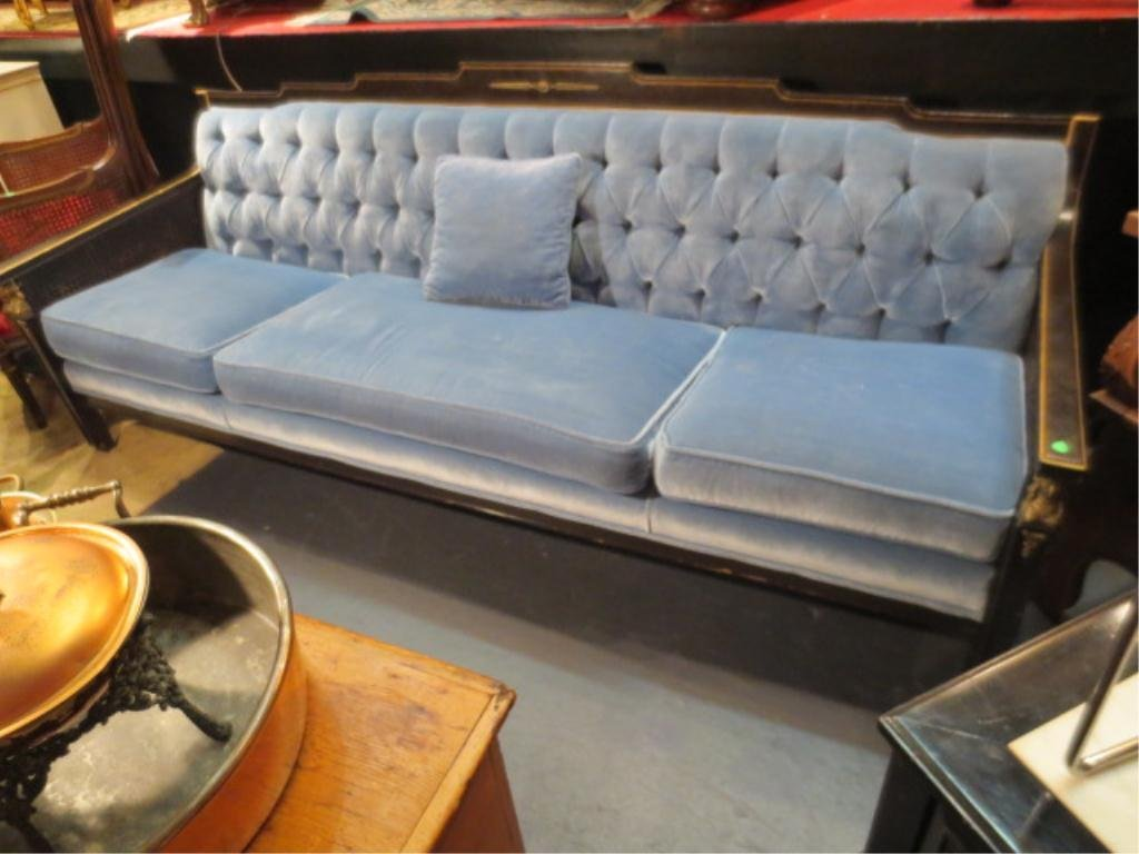 14: NEOCLASSIC FRENCH EMPIRE STYLE SOFA, TUFTED ICE BLU
