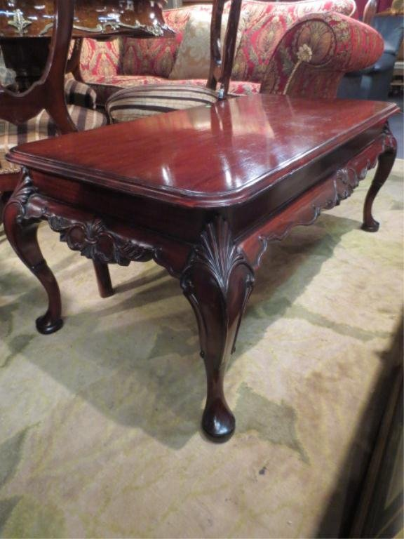 15: CHIPPENDALE STYLE COFFEE TABLE, RECTANGULAR TOP, BA