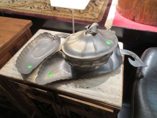 3: THREE PIECE GROUP - PEWTER TUREEN & TWO SERVING TRAY
