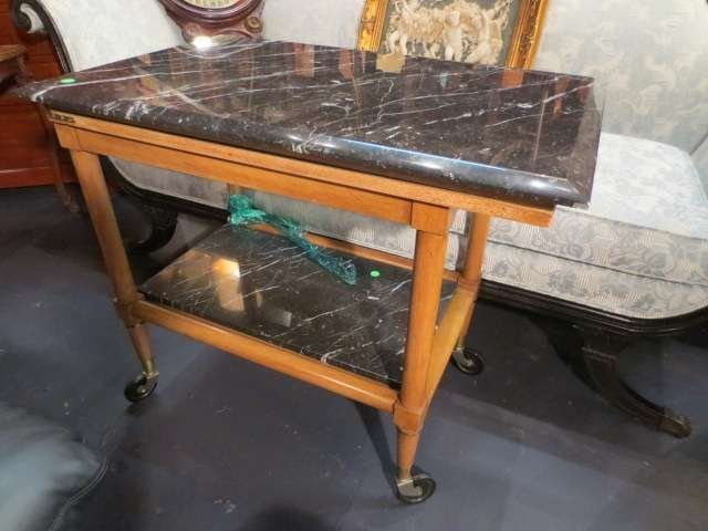 14: MARBLE TOP SERVING CART, 2 TIERS, LIGHT FINISH, CAS