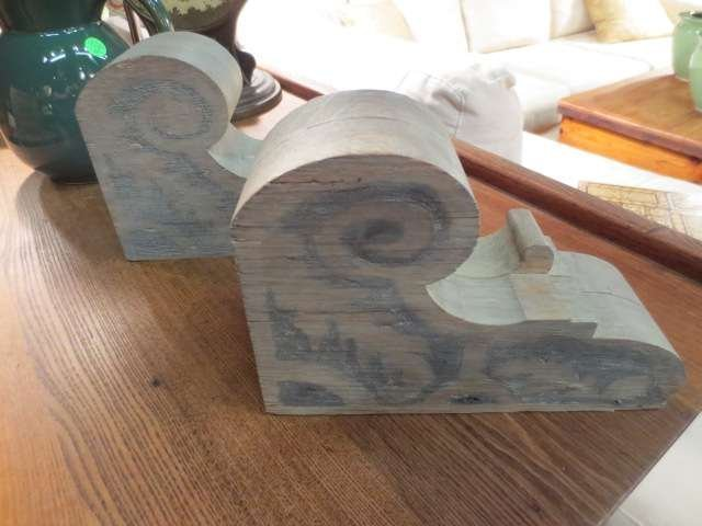 """17: PAIR OF WOOD WALL BRACKETS, APPROX 12""""L"""