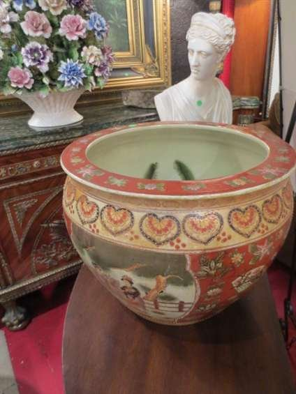 22: ORIENTAL FISHBOWL, WHITE WITH PAINTED FIGURES AND L