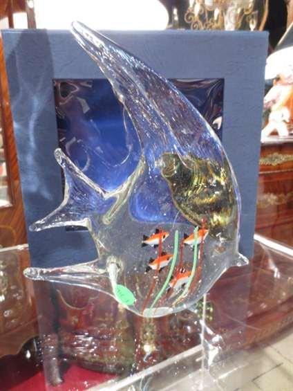 65: MURANO ART GLASS STYLE CLEAR FISH, AQUARIUM STYLE W