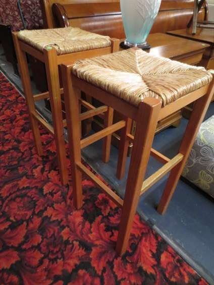 2: PAIR OF LIGHT WOOD BARSTOOLS, WICKER SEATS, COUNTER