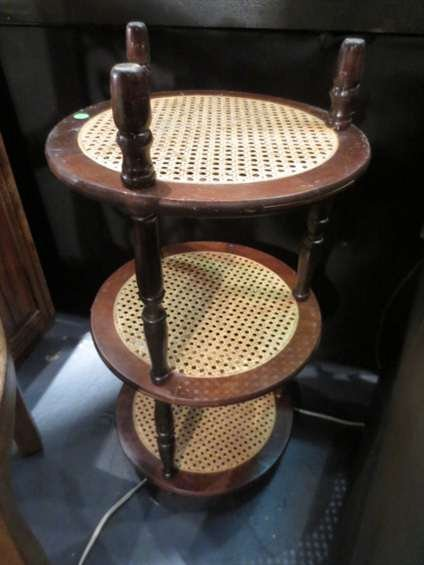 3: 3 TIER WOOD AND CANE TABLE, EXCELLENT CONDITION, APP
