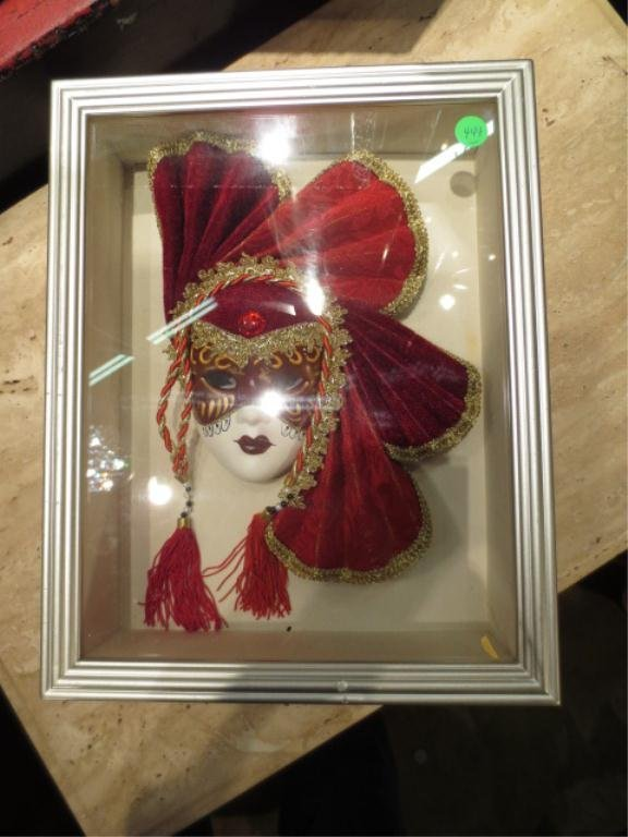 8: PAIR OF SHADOWBOX FRAMED VENETIAN STYLE MASKS, APPRO