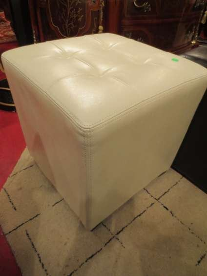 Fabulous 85 Carlo Perazzi White Leather Ottoman Tufted Top Ap Pabps2019 Chair Design Images Pabps2019Com