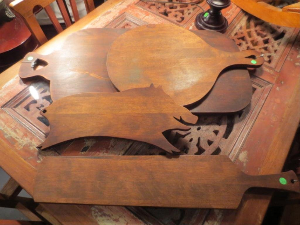 2: 4 PC SET CARVING BOARDS, NEVER USED, ONE IN PIG SHAP