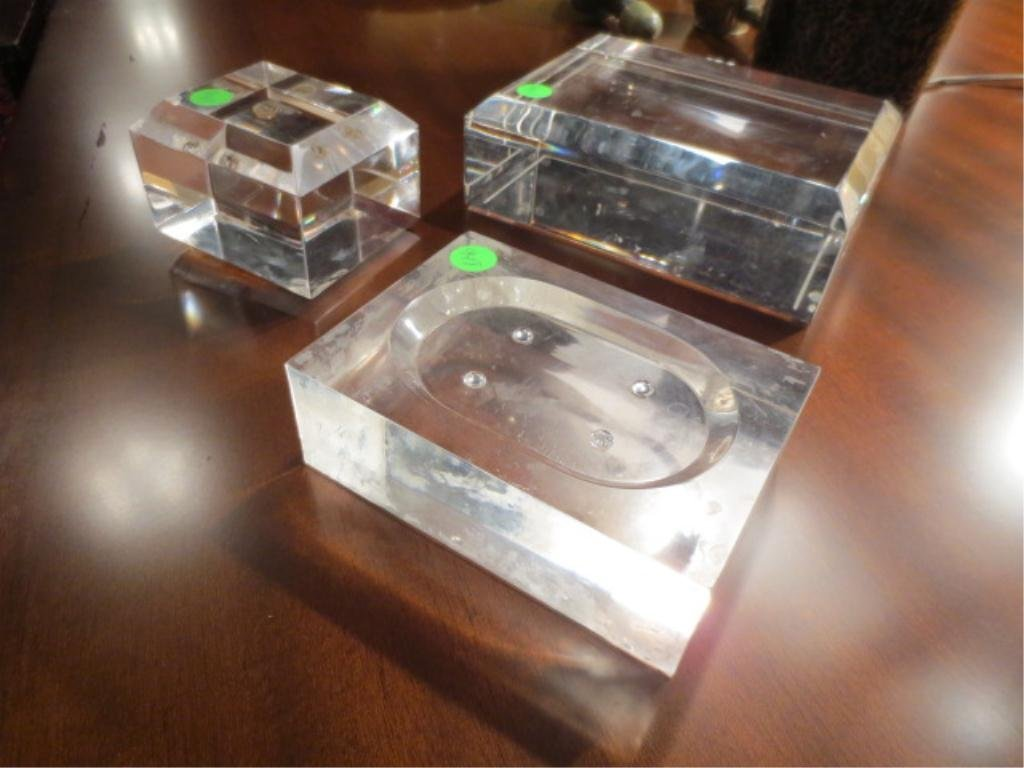 3: 3 PC LOT LUCITE, 2 TABLETOP STANDS AND ONE SOAPDISH