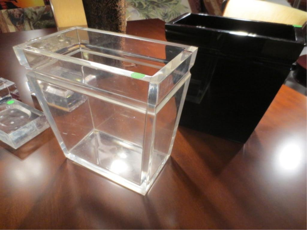 4: 2 PC SET LUCITE WASTEBASKETS, ONE CLEAR, ONE BLACK,