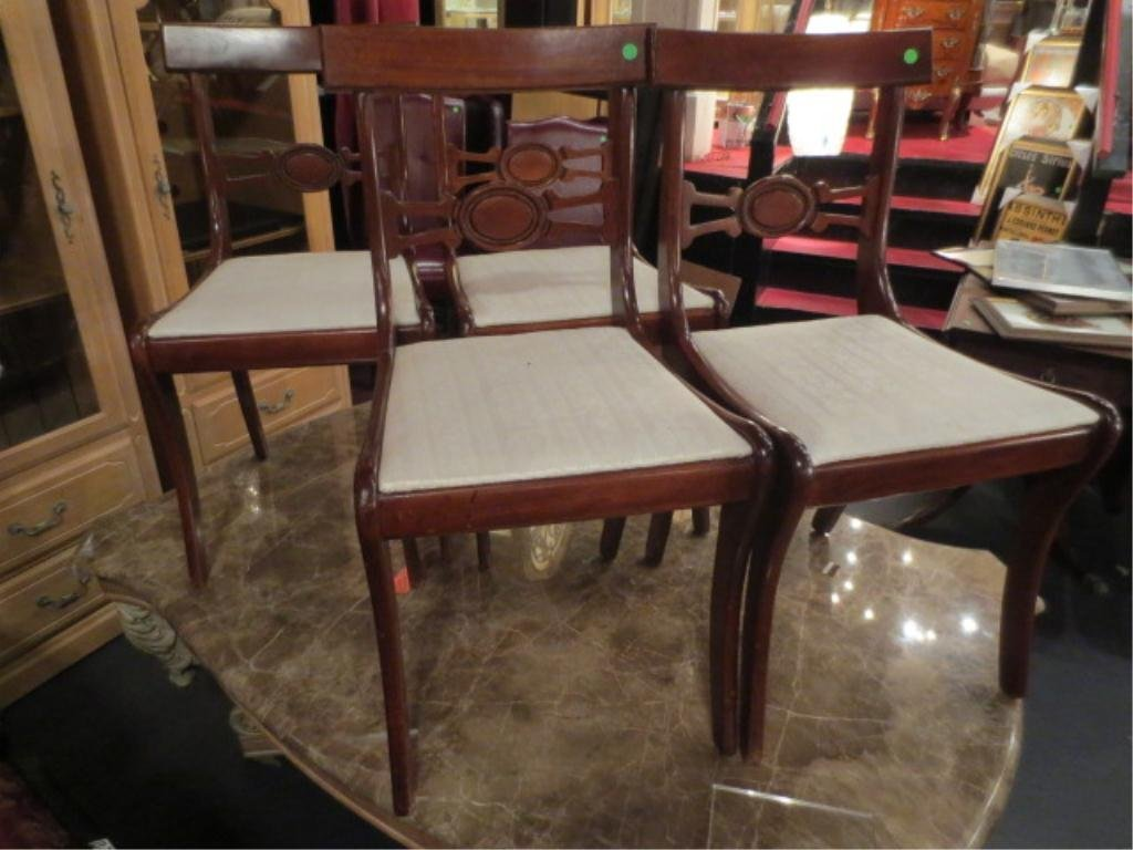 6: SET OF 4 VINTAGE CHAIRS, DARK FINISH WITH WHITE UPHO