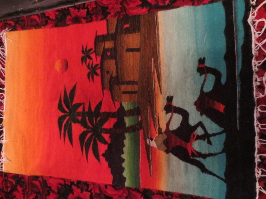 11: NEW NEVER USED WOVEN EGYPTIAN RUG, TWO CAMELS, APPR