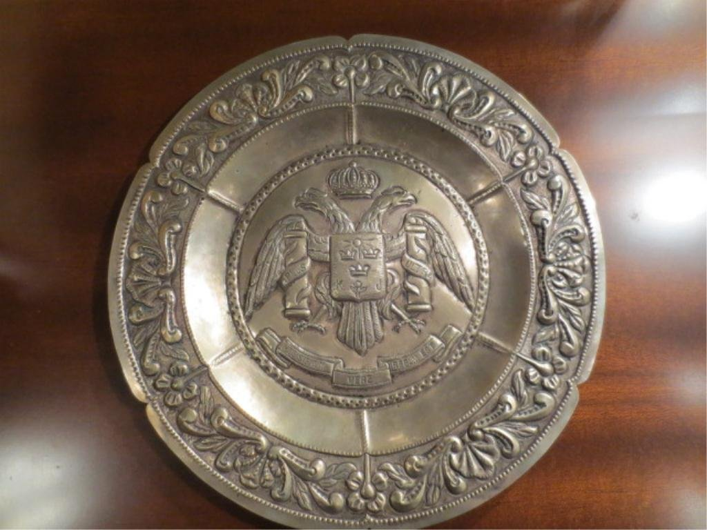 14: VINTAGE PEWTER PLATTER WITH DOUBLE HEADED EAGLE, AP