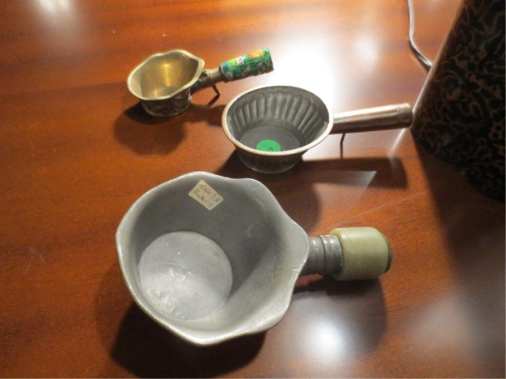 16: THREE CHINESE SILK IRONS/BED WARMERS, LARGEST IS PE