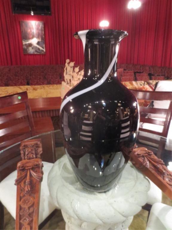 18: HUGE ART GLASS VASE, BLACK WITH WHITE STRIP, MADE I