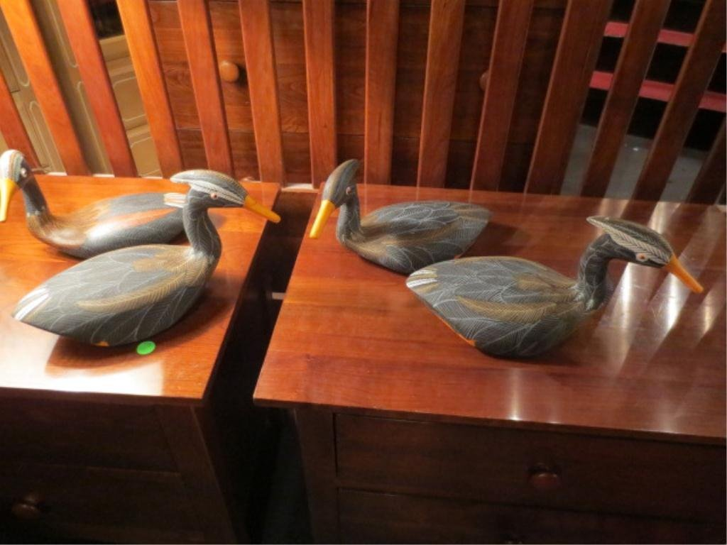 4: 4 PC SET CARVED WOOD DUCKS, HANDPAINTED, SIGNED BY A