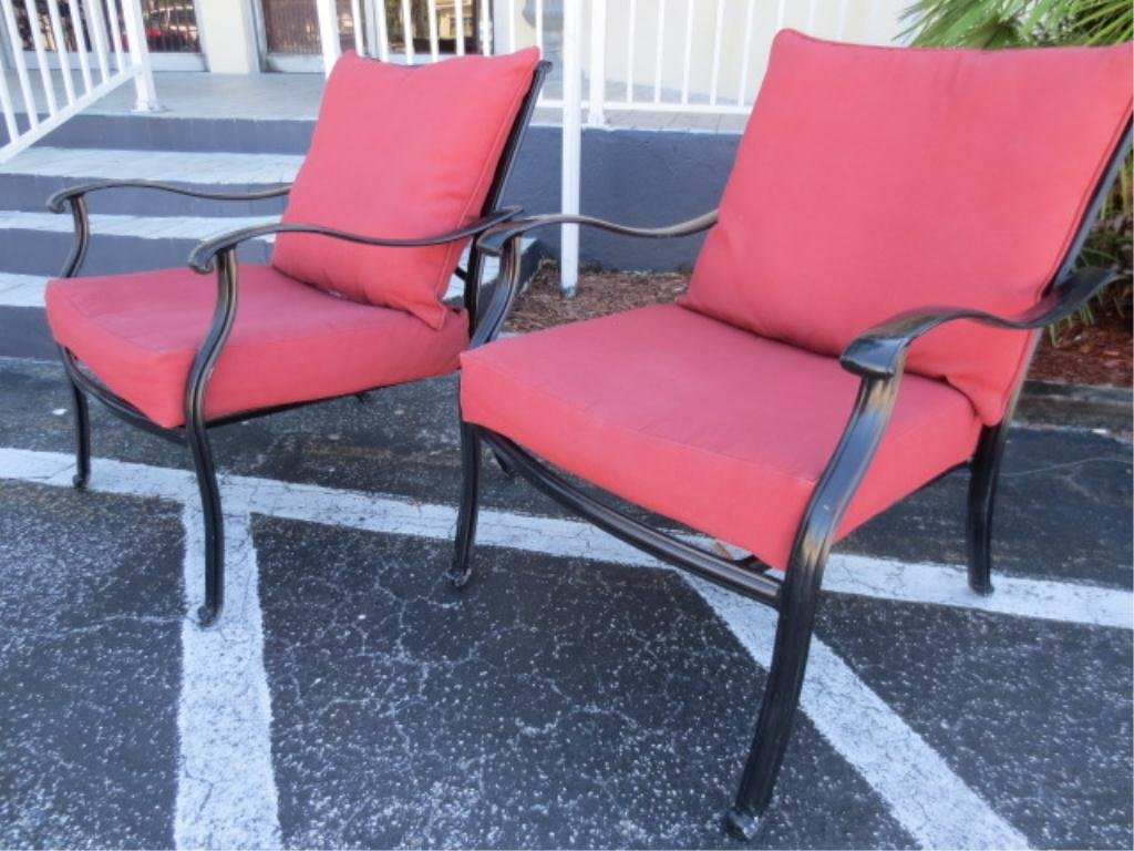 6: #1 OF TWO AVAILABLE PAIRS OF PATIO ARMCHAIRS, BLACK
