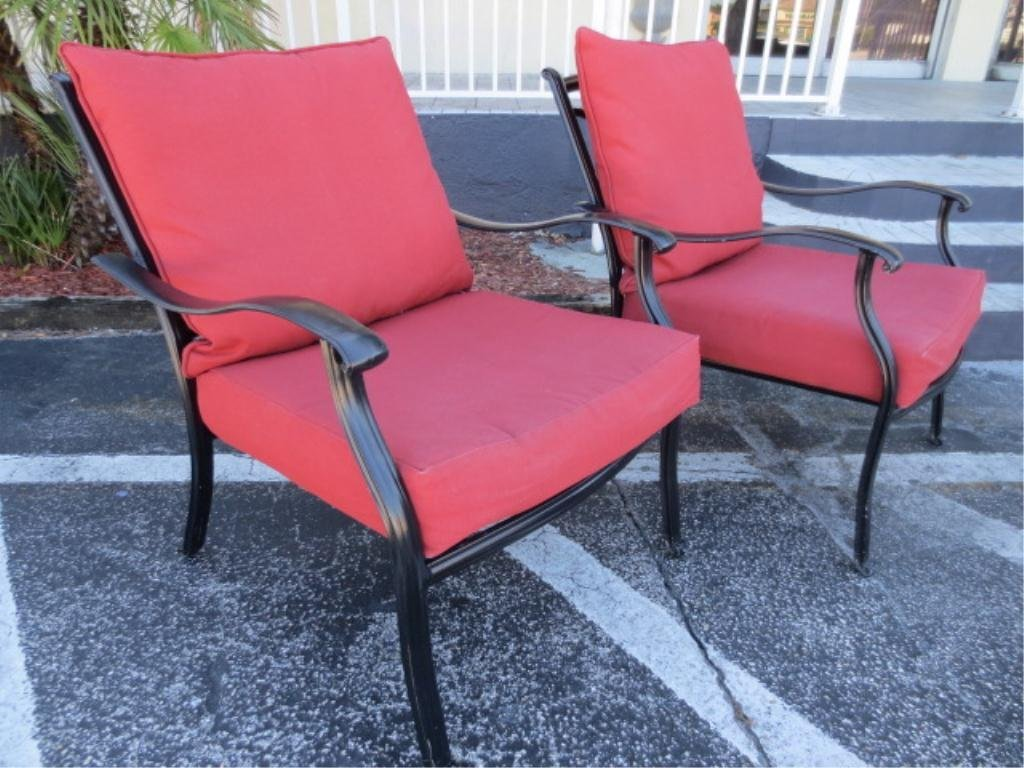 7: #2 OF TWO AVAILABLE PAIRS OF PATIO ARMCHAIRS, BLACK