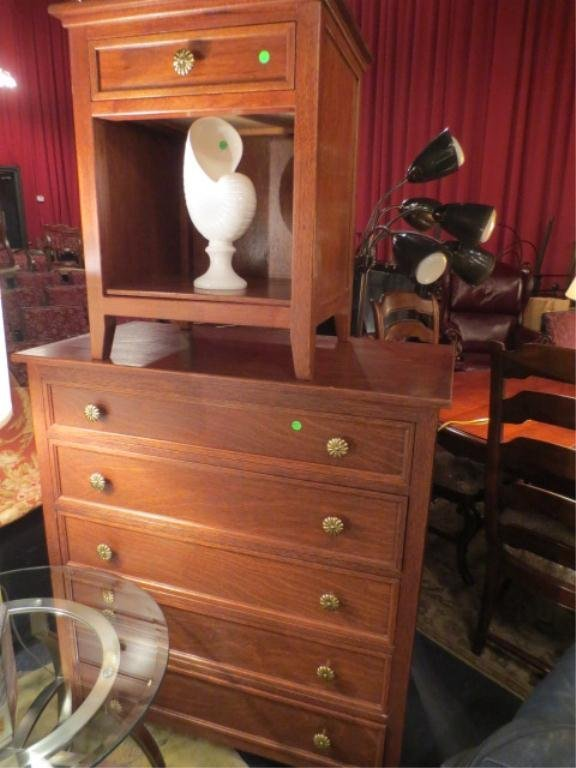 8: TALL CHEST AND NIGHTSTAND, CRYSANTHEMUM STYLE HANDLE