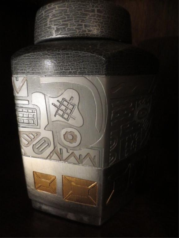 11: PORCELAIN COVERED URN, GRAY WITH SILVER AND GOLD DE