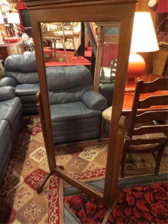 16: DRESSING MIRROR ON STAND, OAK FINISH, APPROX 6' H