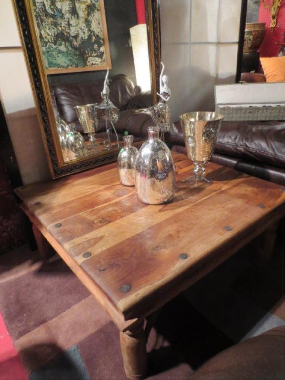 186: RUSTIC COFFEE TABLE WITH NAILHEAD TRIM, SCROLLING