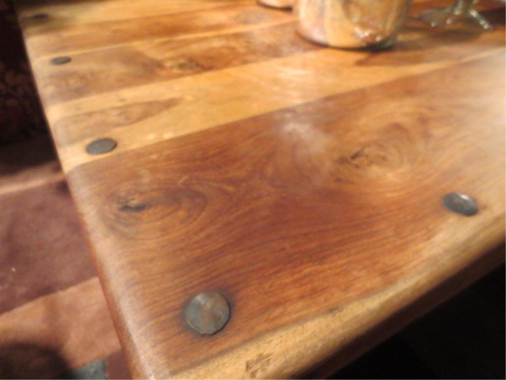 186: RUSTIC COFFEE TABLE WITH NAILHEAD TRIM, SCROLLING  - 3