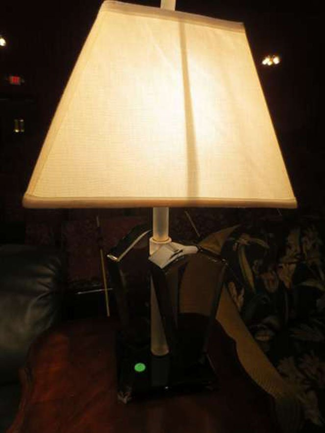 4: LUCITE TABLE LAMP, GRAY AND BLACK LUCITE BASE, APROX