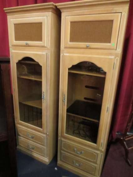 22: PAIR ETHAN ALLEN CABINETS, LIGHT FINISH, WITH ENTER