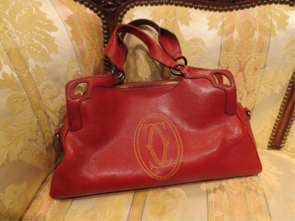 """27: CARTIER RED LEATHER HANDBAG, APPROX 9"""" X 16"""""""